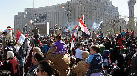 Crowds turn out to celebrate Friday in Cairo's Tahrir Square, marking the success of a popular uprising and honoring the protesters who were killed, February 18, 2011