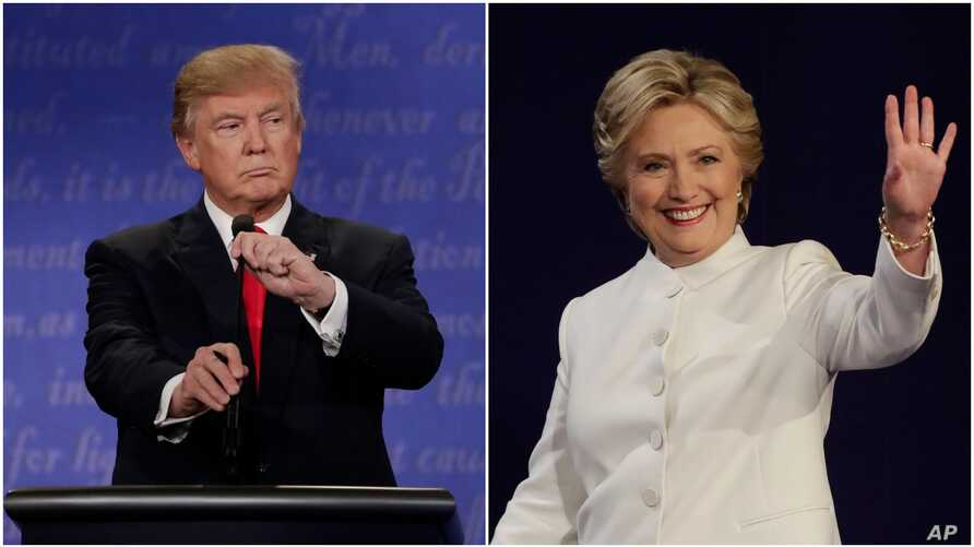 Democratic presidential nominee Hillary Clinton and Republican presidential nominee Donald Trump begin their third presidential debate at UNLV in Las Vegas, Oct. 19, 2016.