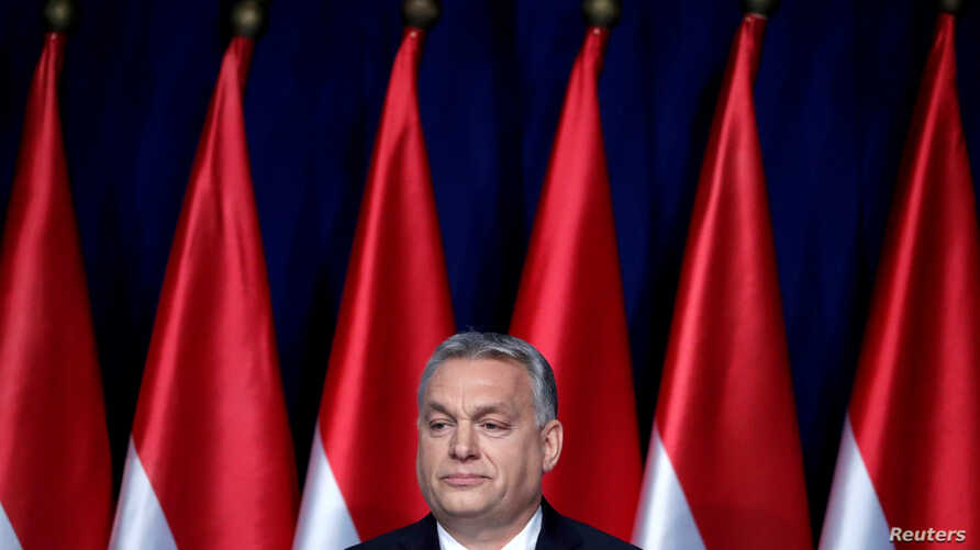 Hungarian Prime Minister Viktor Orban delivers his annual state of the nation speech in Budapest, Hungary, Feb. 10, 2019.