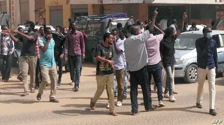 Sudanese protesters take part in an anti-government demonstration in Khartoum on Feb. 7, 2019.