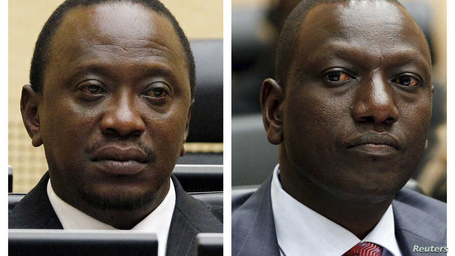 An April 2011 Combination picture shows Kenya's Uhuru Kenyatta, who was finance minister, and William Ruto, former Higher Education Minister at the International Criminal Court (ICC) in The Hague.