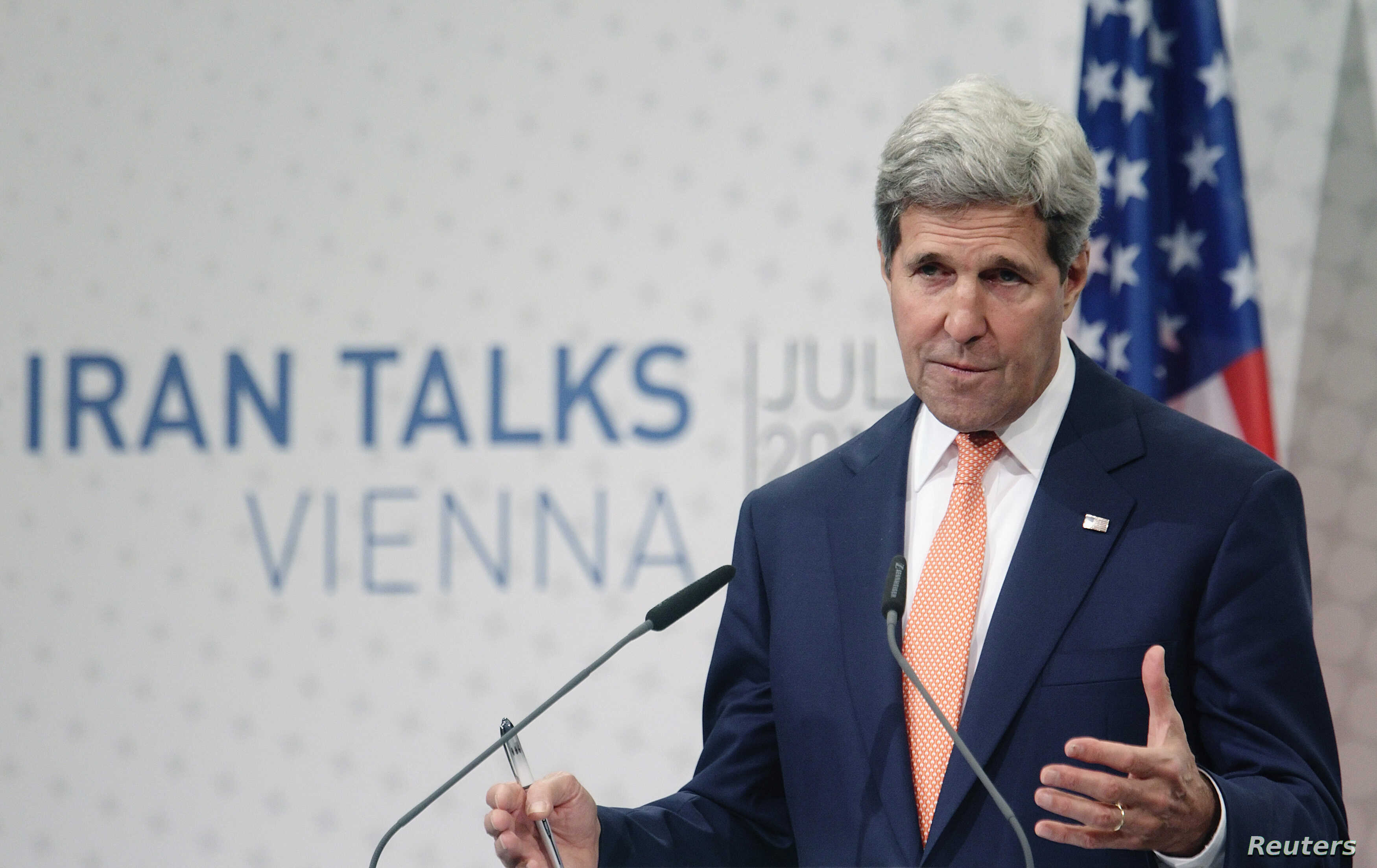 U.S. Secretary of State John Kerry speaks during a news conference in Vienna, July 15, 2014.