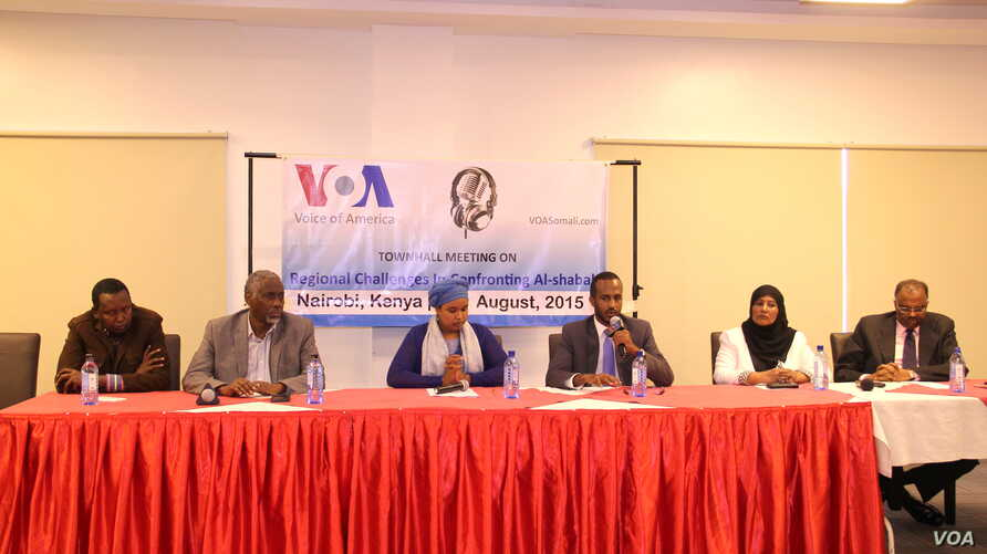 Panelists at a town hall hosted by VOA Somali broadcaster Falastine Ahmed Iman in Nairobi, August 30, 2015.