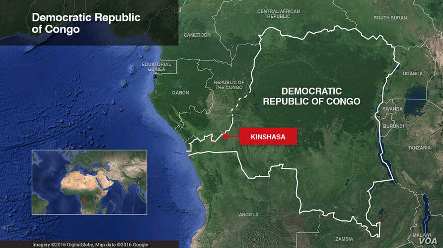 Map of Democratic Republic of Congo, highlighting Kinshasa
