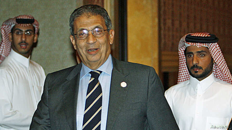 FILE - Amr Mousa in Doha,  April 23, 2007.