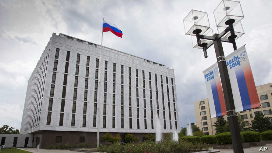 FILE - A portion of the Russian Embassy complex is seen in Washington.