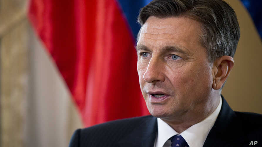 Slovenia's president Borut Pahor talks during an interview with the Associated Press in Ljubljana, Slovenia, March 6, 2017.