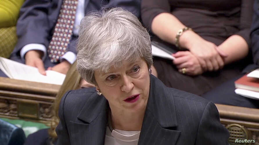 Britain's Prime Minister Theresa May speaks in Parliament, in London, March 20, 2019, in this screen grab taken from video.