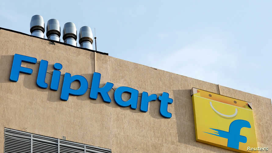 FILE - The logo of Flipkart is seen on the company's office in Bengaluru, India.