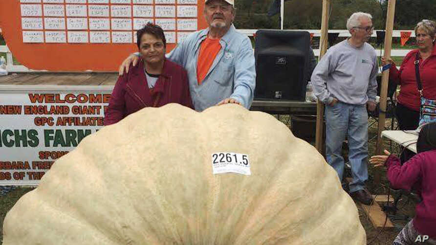 Richard and Catherine Wallace stand with a 2,261.5-pound pumpkin that Richard grew to set the North American giant pumpkin record at the Frerichs Farm Pumpkin Weigh Off in Warren, R.I.