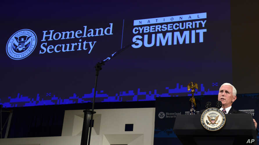 Vice President Mike Pence speaks at the Department of Homeland Security National Cybersecurity Summit in New York,   July 31, 2018.