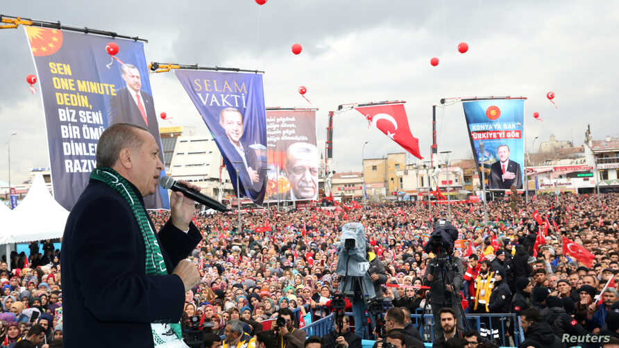 Turkish President Tayyip Erdogan addresses his supporters in Konya, Turkey, Dec. 17, 2018. (Cem Oksuz/Presidential Press Office/Handout via Reuters)