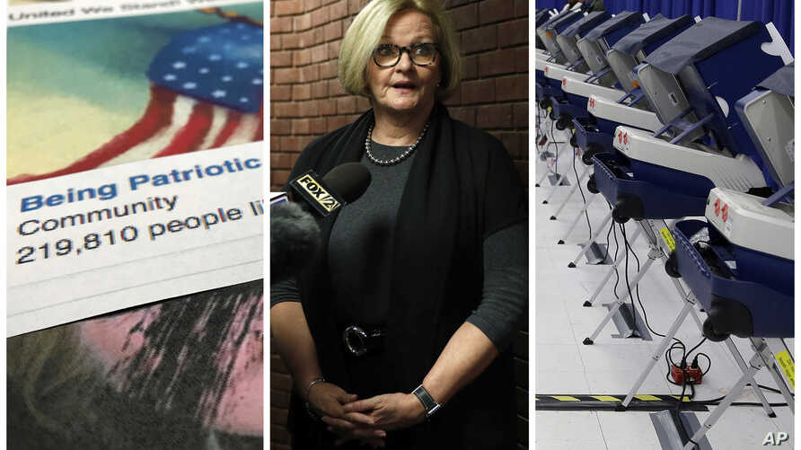 "This combination of 2017-2018 photos shows from left, a Facebook posting from a group named ""Being Patriotic"" attributed to Russian agents by the U.S. House Intelligence Committee, Democratic Sen. Claire McCaskill of Missouri whose campaign was targe"