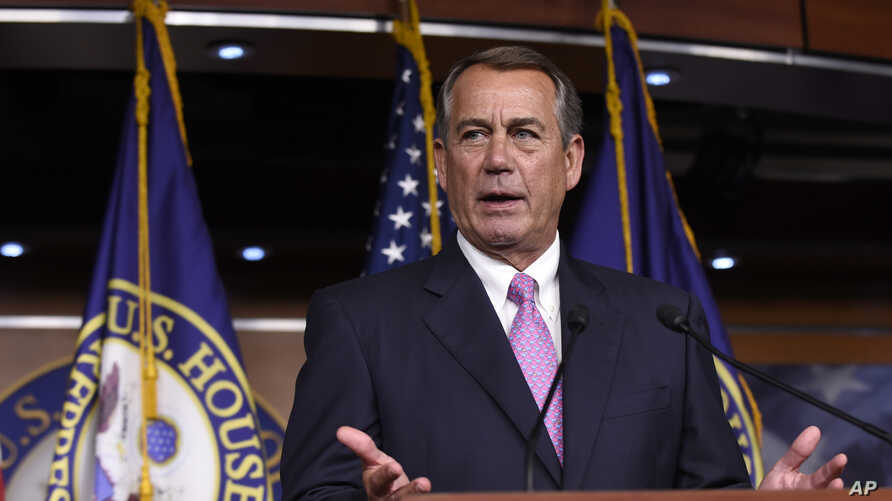 House Speaker John Boehner of Ohio speaks during a news conference on Capitol Hill in Washington, July 29, 2015.