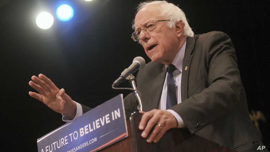 """FILE - Bernie Sanders gives his """"Where We Go From Here"""" Speech at a rally at Town Hall in New York City."""