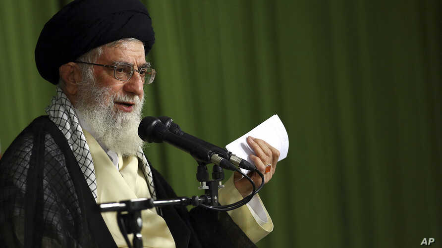 FILE - Iranian supreme leader, Supreme Leader Ayatollah Ali Khamenei speaks in a meeting with Iranian ambassadors in Tehran, Iran, Aug. 13, 2014.