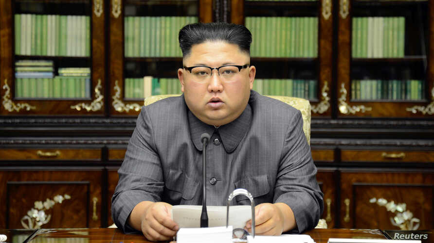 North Korea's leader Kim Jong Un makes a statement regarding U.S. President Donald Trump's speech at the U.N. general assembly, in this undated photo released by North Korea's Korean Central News Agency in Pyongyang, Sept. 22, 2017.