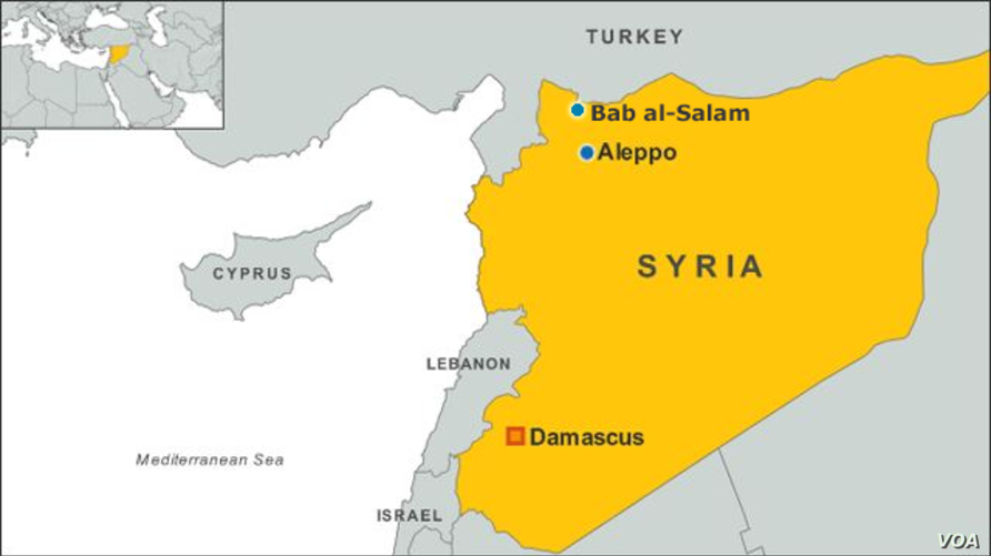 Map showing the location of Bab al-Salam, Syria