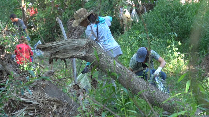 The winter flooding of 2016-2017 brought tons of trash to the Los Angeles River, and volunteers from clubs, businesses and industry groups are helping remove it, April 15, 2017.