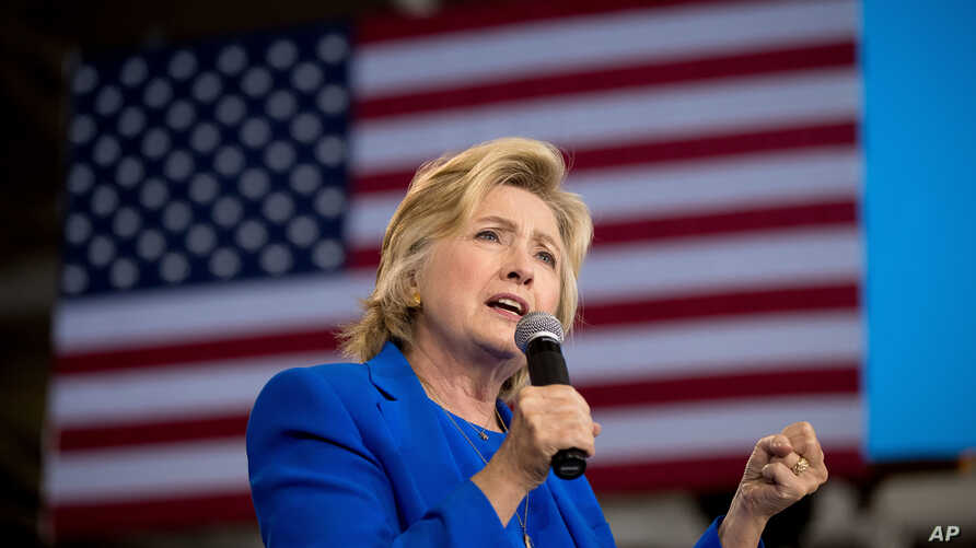 FILE - Democratic presidential candidate Hillary Clinton speaks at a campaign rally in Charlotte, North Carolina, Sept. 8, 2016.