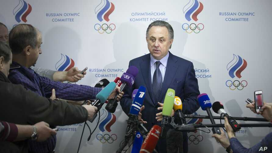 Russian Sports Minister Vitaly Mutko speaks to the media as he arrives to attend the election of the new Russian national track federation president in Moscow, Russia, Jan. 16, 2016.