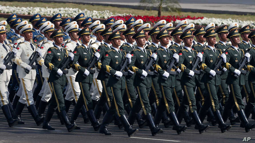 A contingent of the Chinese People's Liberation Army march during a military parade to mark Pakistan's Republic Day, in Islamabad, March 23, 2017.