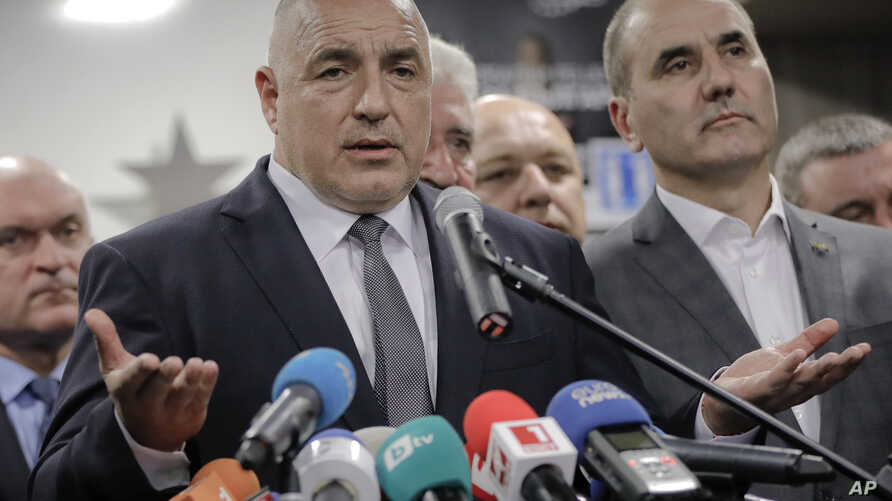 Bulgarian ex-Premier Boiko Borisov, leader of the center-right GERB party, gestures during a statement at the party's headquarters, in Sofia, Bulgaria, March 26, 2017.