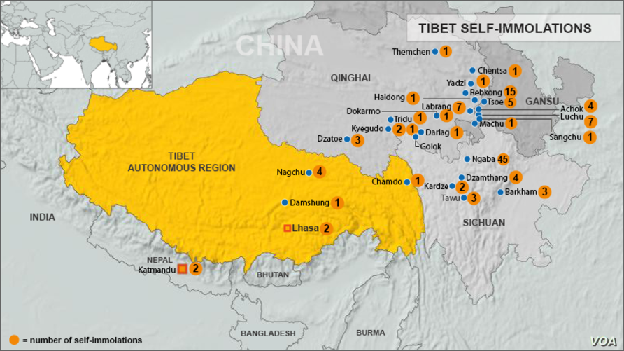 Map of self-immolations in Tibet, or near Tibet