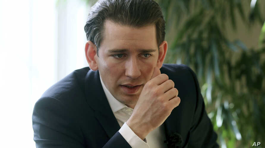 "FILE - Austrian Foreign Minister Sebastian Kurz, pictured during an AP interview, March 17, 2017, says it's ""high time for a focus on pragmatic and practical steps for confidence-building as well as a resumption of substantive negotiations"" on Nagorn"