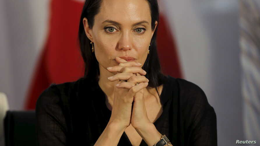 FILE - United Nations High Commissioner for Refugees (UNHCR) Special Envoy Angelina Jolie attends a news conference.