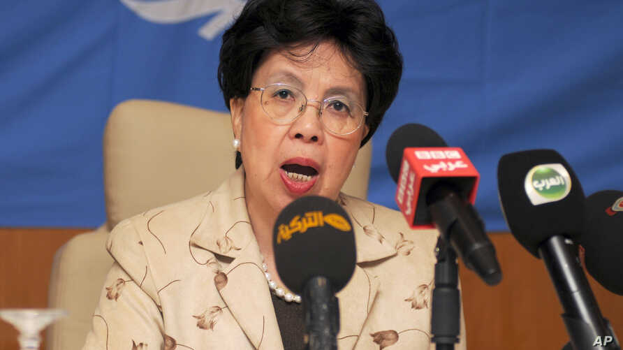 FILE - Margaret Chan, director-general of the World Health Organization, talks to reporters in Gammarth, Tunisia, Oct. 19, 2014.