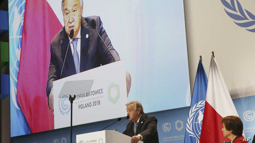 UN Secretary General Antonio Guterres delivers a speech WLduring the opening of COP24 UN Climate Change Conference 2018 in Katowice, Poland, Dec. 3, 2018.