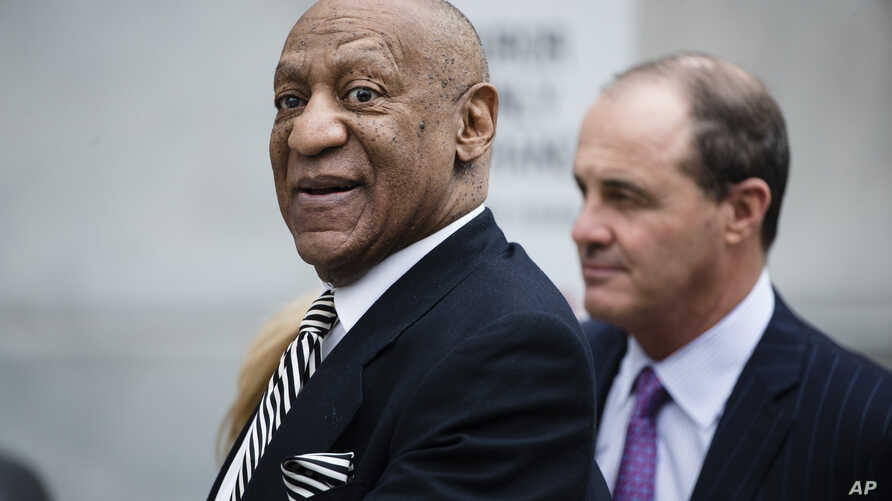 Bill Cosby departs the Montgomery County Courthouse after a pretrial hearing in his sexual assault case in Norristown, Pa.