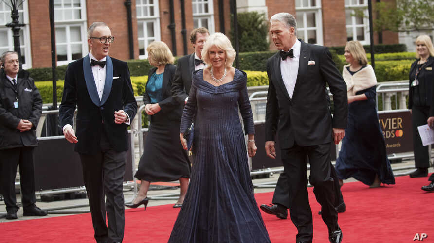Camilla Duchess of Cornwall arrives at the Olivier Awards in London, Sunday, April 7, 2019.