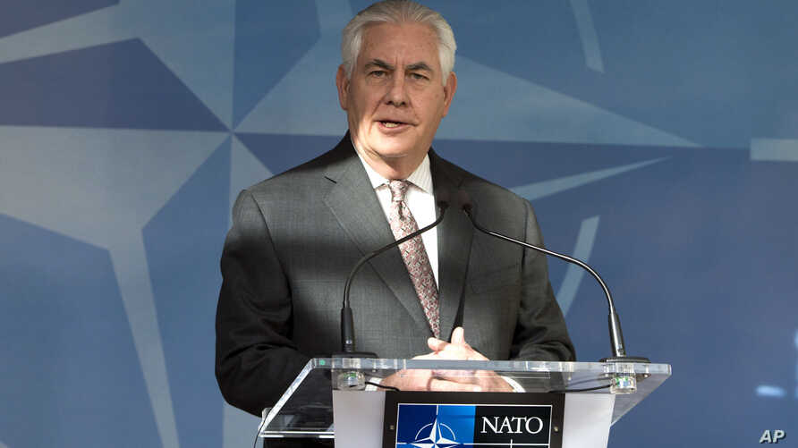 U.S. Secretary of State Rex Tillerson addresses the press before a meeting of NATO foreign ministers at NATO headquarters in Brussels, March 31, 2017.