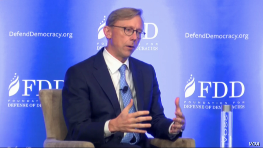 U.S. special representative for Iran Brian Hook speaks at a Foundation for Defense of Democracies conference in Washington on August 28, 2018.