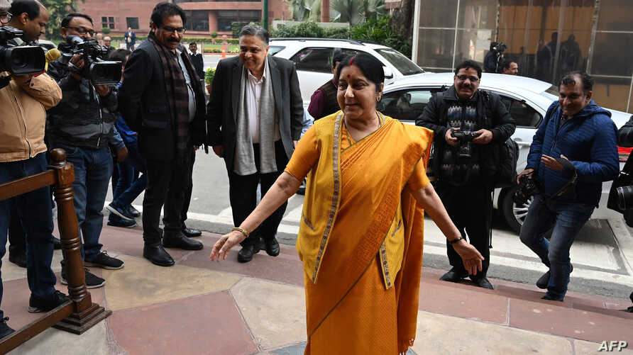 Indian Foreign Minister Sushma Swaraj arrives in parliament for a budget session in New Delhi on Jan. 31, 2019.