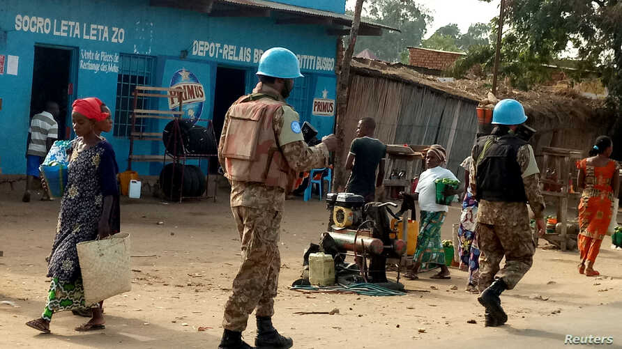 Peacekeepers serving in the United Nations Organization Stabilization Mission in the Democratic Republic of the Congo (MONUSCO) patrol the streets of Uvira, South Kivu, in the Democratic Republic of Congo, Sept. 30, 2017.