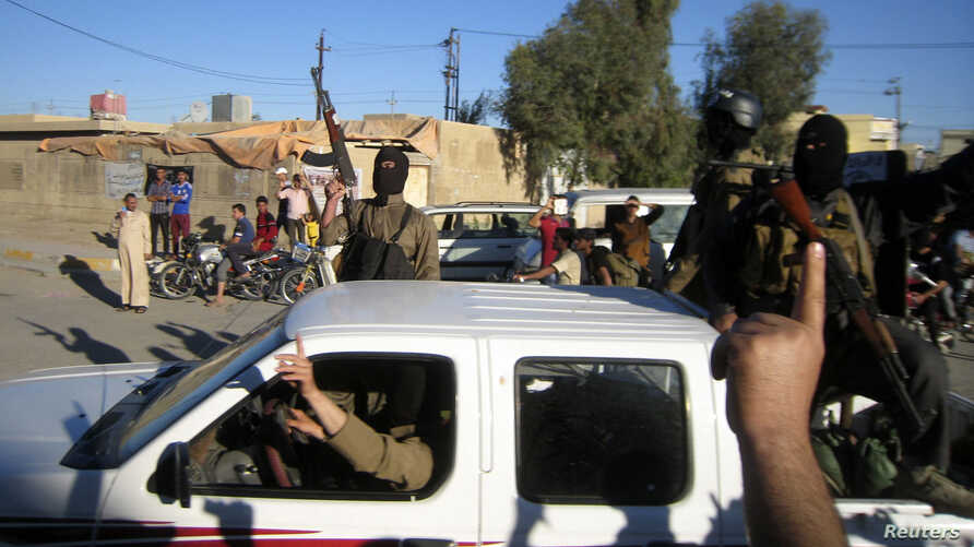 Al-Qaida fighters celebrate on vehicles taken from Iraqi security forces on a main street in Fallujah, west of Baghdad, Iraq, March 20, 2014.