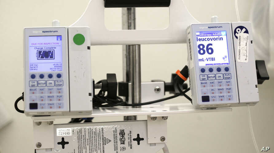 FILE - A photo shows equipment that administers chemotherapy drugs at the North Carolina Cancer Hospital in Chapel Hill, North Carolina, May 25, 2017.