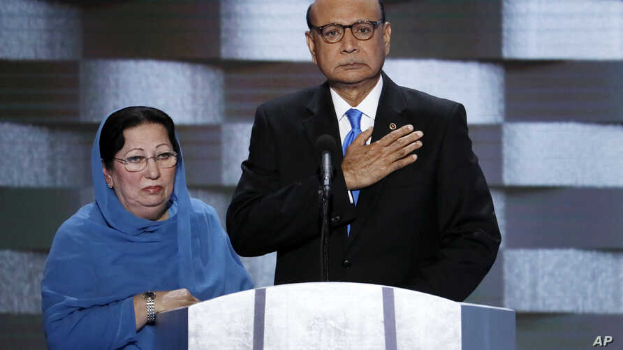 Khizr Khan, father of fallen US Army Capt. Humayun S. M. Khan and his wife Ghazala speak during the final day of the Democratic National Convention in Philadelphia, July 28, 2016.