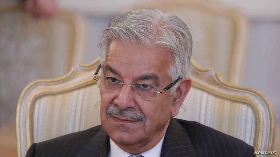 Pakistani Foreign Minister Khawaja Asif attends a meeting with his Russian counterpart Sergei Lavrov in Moscow, Feb. 20, 2018.