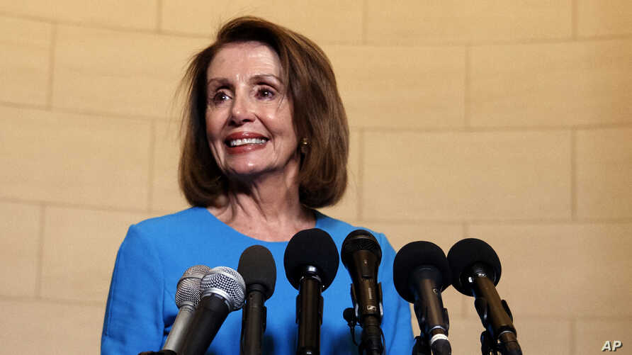 House Minority Leader Nancy Pelosi, D-Calif., arrives to speak to media at Longworth House Office Building on Capitol Hill in Washington, Wednesday, Nov. 28, 2018, to announce her nomination by House Democrats to lead them in the new Congress, Nov. 2