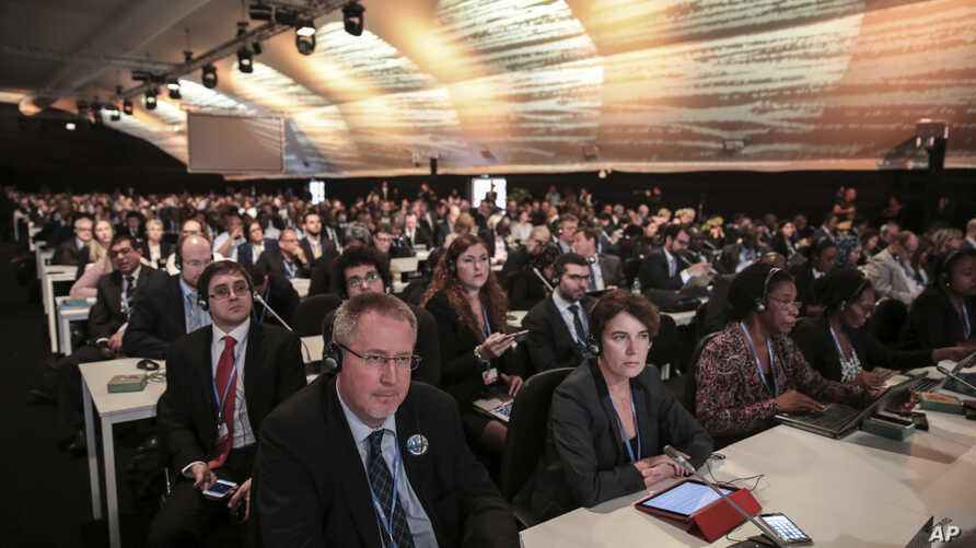 Morocco UN Climate Talks: Participants and delegates attend the opening session of the Climate Conference in Marrakech, Morocco, Monday Nov. 7, 2016.