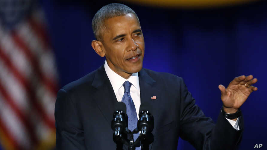 President Barack Obama speaks at McCormick Place in Chicago, giving his presidential farewell address, Jan. 10, 2017.