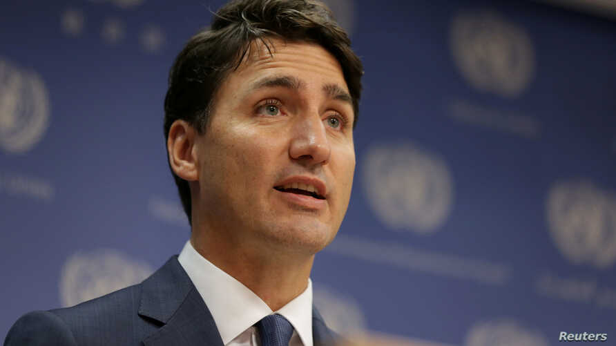 FILE - Canadian Prime Minister, Justin Trudeau, speaks during a news conference at U.N. headquarters during the General Assembly of the United Nations in Manhattan, New York, Sept. 26, 2018.