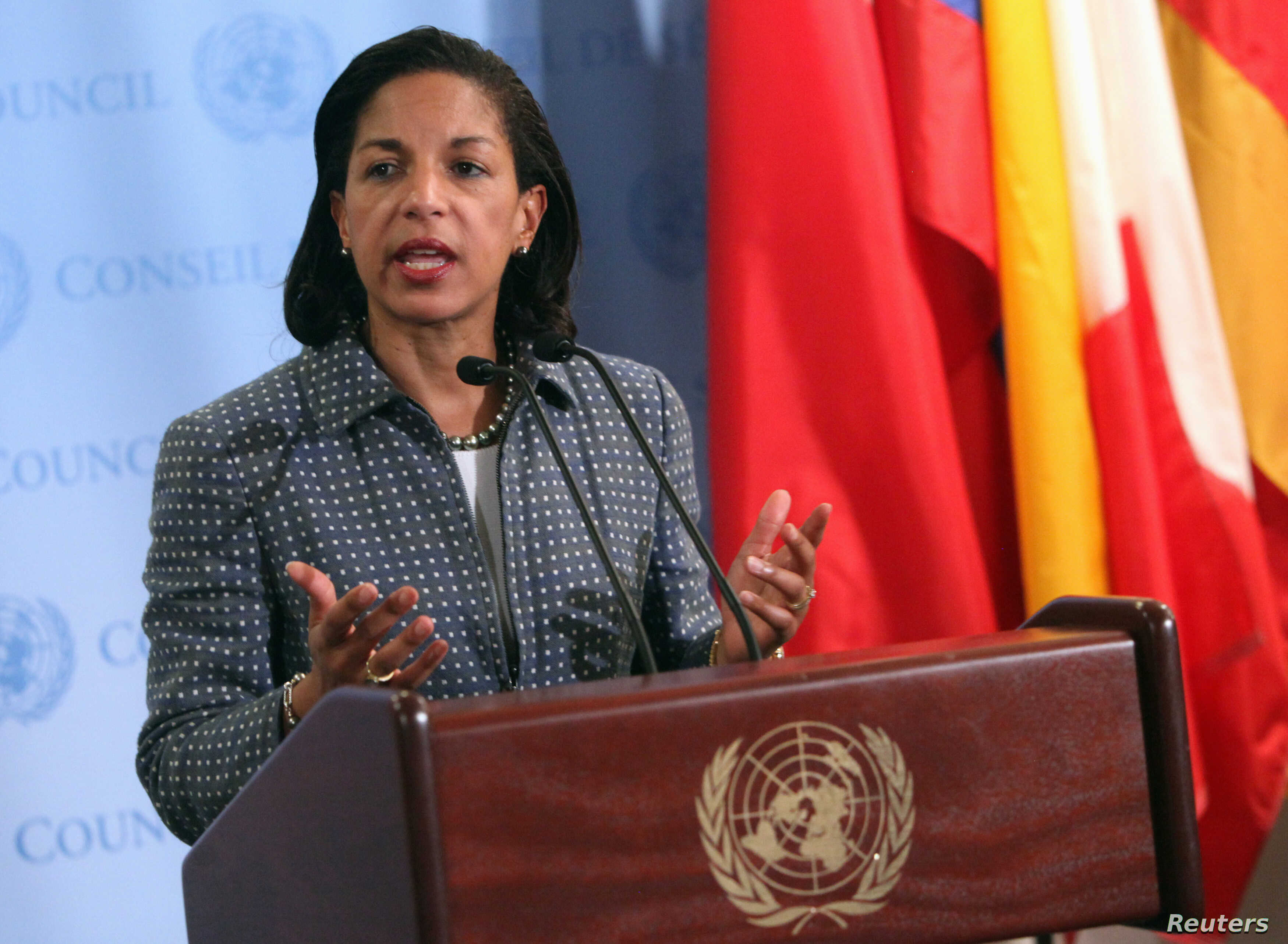 U.S. ambassador to the United Nations (U.N.) Susan Rice speaks with the media after Security Council consultations at U.N. headquarters in New York June 7, 2012. REUTERS/Allison Joyce (UNITED STATES - Tags: POLITICS)