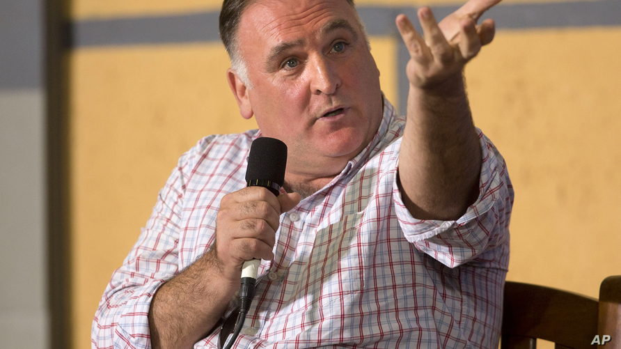 FILE - Spanish-American chef Jose Andres answers questions during a panel discussion at an event on entrepreneurship at La Cerveceria, in Havana, March 21, 2016.