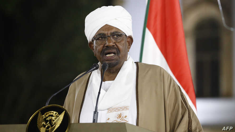 Sudanese President Omar al-Bashir delivers a speech to the nation, Feb. 22, 2019, at the presidential palace in the capital Khartoum.