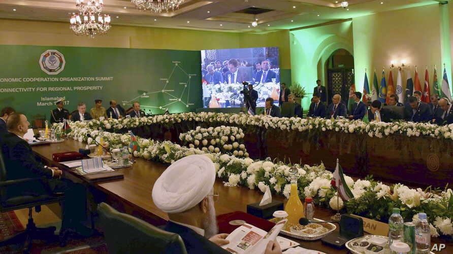 Participants in the Economic Cooperation Organization discuss the challenge of terrorism and push for greater collaboration on trade, energy and infrastructure development, in Islamabad, March 1, 2017.